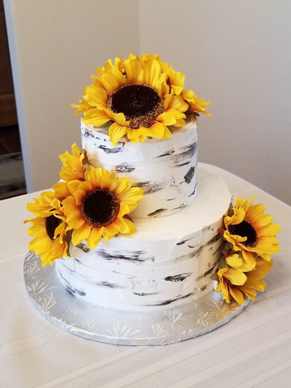 Birch and sunflower themed wedding cake Cake, Sunflower