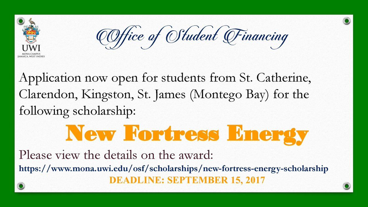 The New Fortress Energy Scholarship The Award Is Available To Full