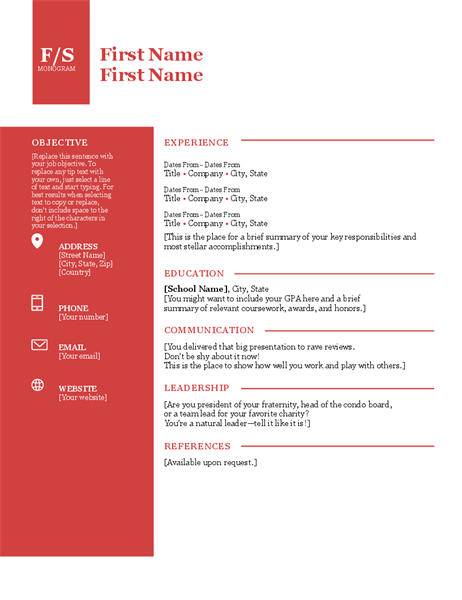 Bold Monogram Resume Resume Effective Resume Cover Letter