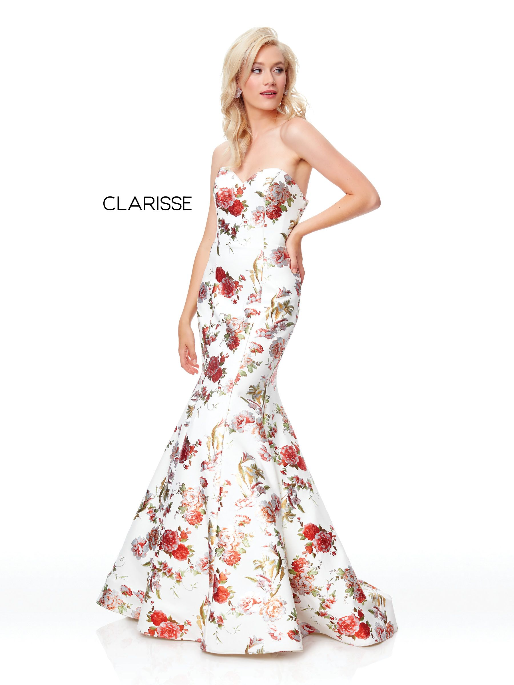 4ac292ff84 3801 - Ivory and floral print strapless mermaid prom dress with a corset  back