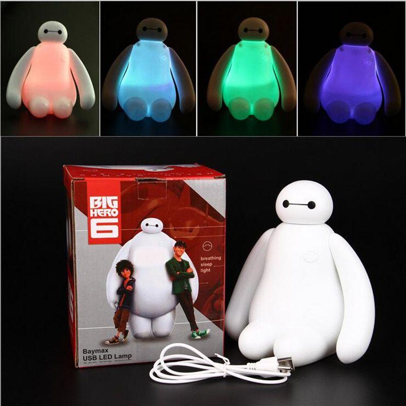 1 ШТ. RGB Цвет Меняется Большой Hero 6 Baymax Usb Led Night Light симпатичная Настольная Лампа 16 СМ Белый Стол Света Мультфильм Дети Подарок Домашний Декор купить на AliExpress