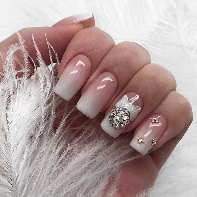 80 Beautiful Christmas Nail Design Ideas For New Year Square Acrylic Nails Christmas Nail Designs Christmas Nail Art Designs