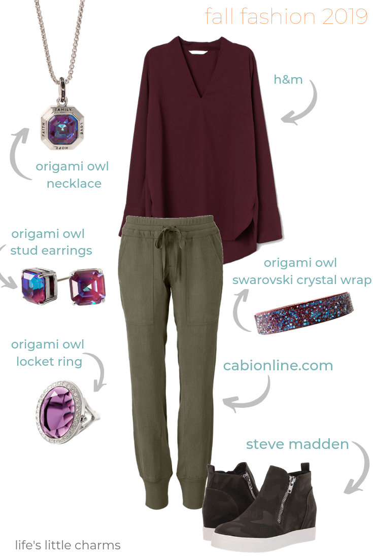 Photo of Casual Fall 2019 Outfit featuring Origami Owl jewelry and Cabi Joggers