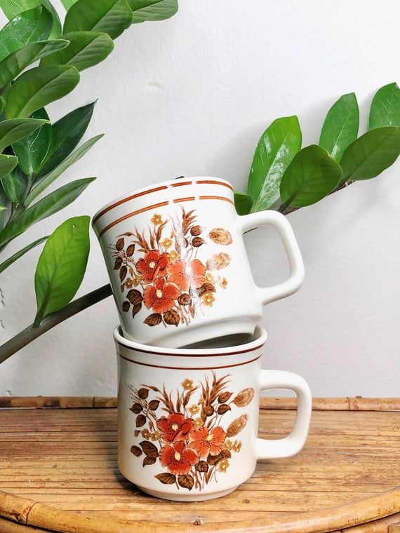 Vintage Mug Set - Set of 2 Mugs - Stoneware Mug Set - Coffee Mug Set - Coffee Lover Gift - Burnt Orange - Botanical Mugs - Fall Home Decor #mugsset