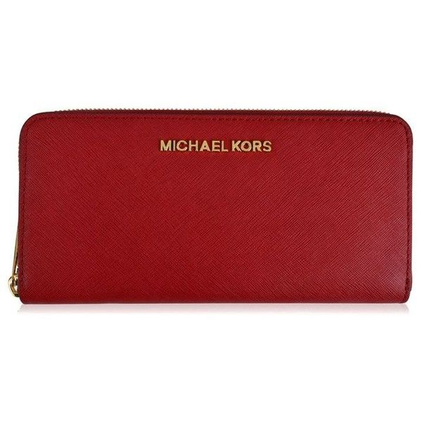Michael Michael Kors Jet Set Purse ($110) ❤ liked on Polyvore featuring bags, handbags, cherry, real leather purses, red leather purse, leather handbag purse, red leather handbags and zipper purse