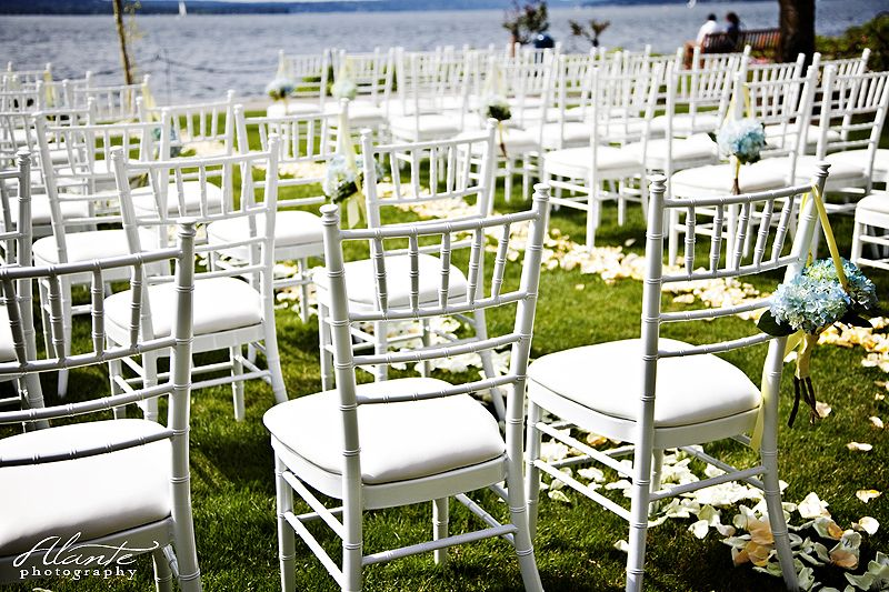 Brown Chairs Outdoor Ceremony Decorations: White Chiavari Chairs