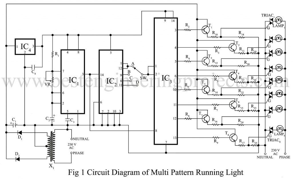 Circuit Diagram Of Multi Pattern Running Light Multi Pattern Running Lights Circuit Diagram