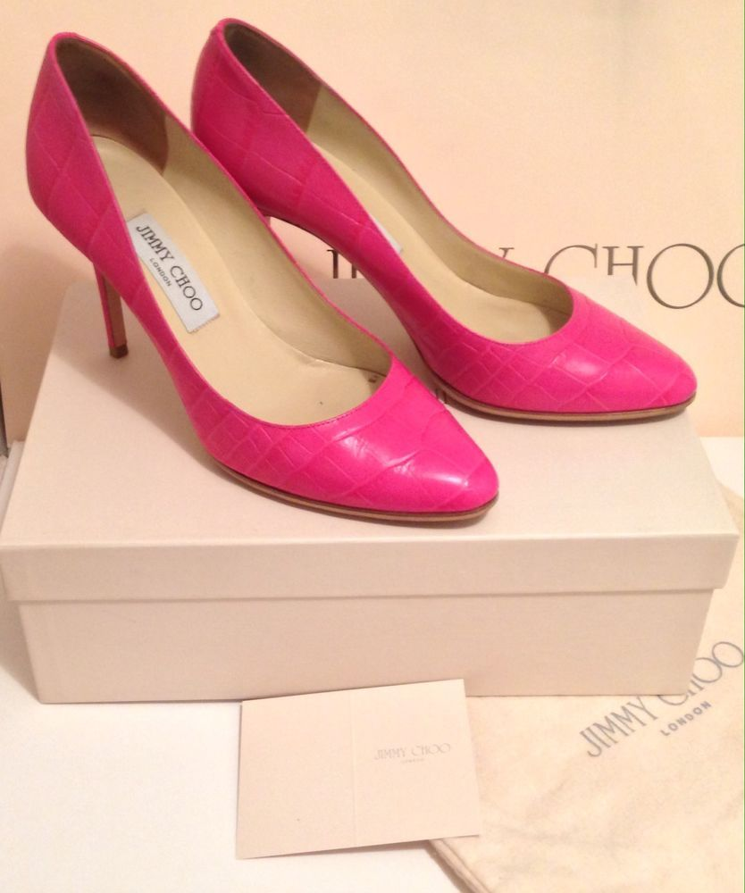 19b54e4803 Details about Jimmy Choo Gilbert Pink Moc Croc Shoes - Size 6/6.5 ...