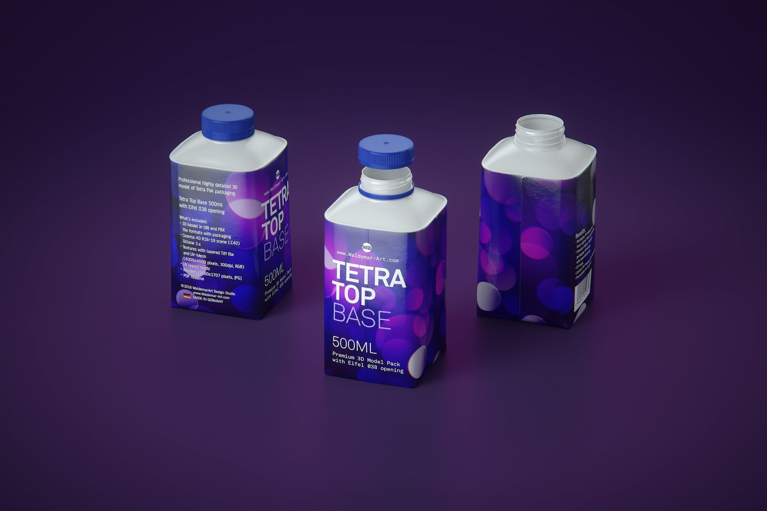 Tetra Pak 3d model of the Tetra Top Base 500ml with Eifel