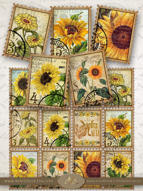 Mail Digital Collage Sheet Junk Journal Cards Scrapbook Paper FAUX STAMPS PRINTABLE Birds /& Butterflies Ephemera Pack Instant Download
