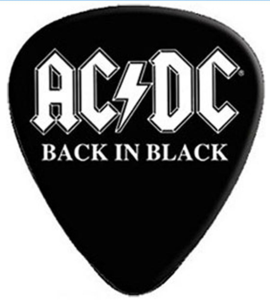 Ac Dc Guitar Pick Plectrum Back In Black Official Band Merch Merchandise Guitar Acdc Guitar Picks