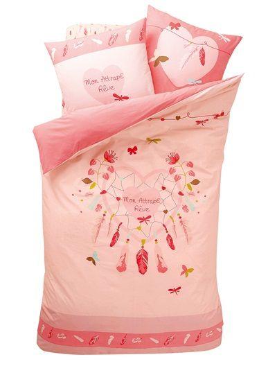 Housse de couette fille mille plumes rose imprime - Housse de couette enfant fille ...