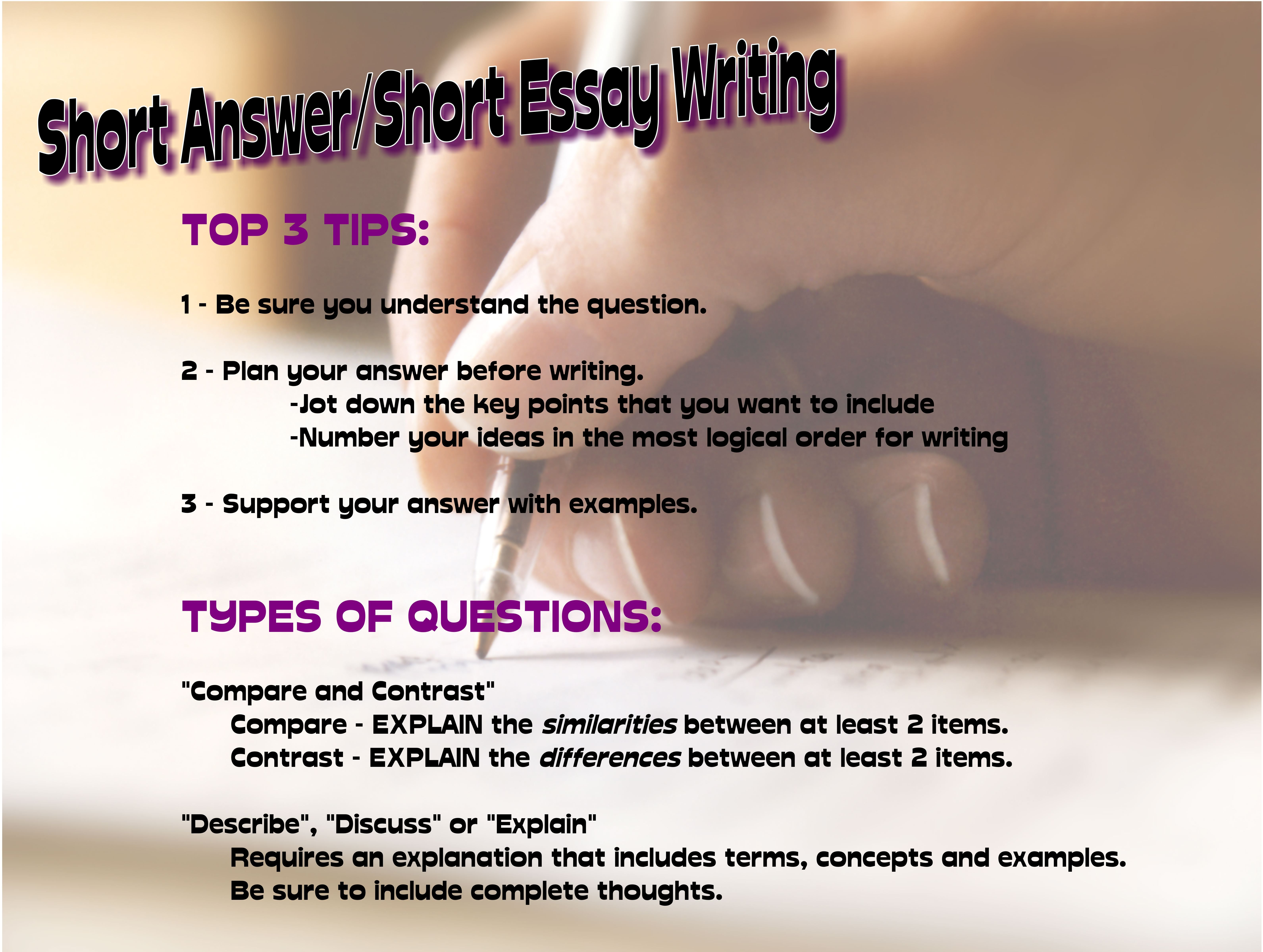 Short Answer/Short Essay Writing Tips | Essay Writing Help ...