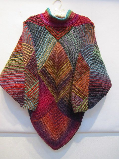 Love this, knit mitered squares into a poncho. Free pattern here ...