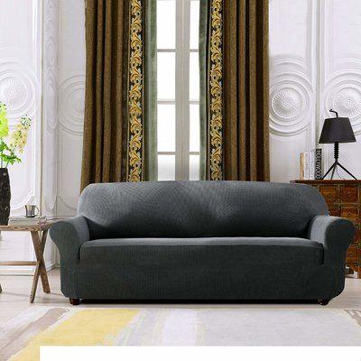 Fantastic Winston Porter Plaid Stretch Box Cushion Sofa Slipcover Alphanode Cool Chair Designs And Ideas Alphanodeonline