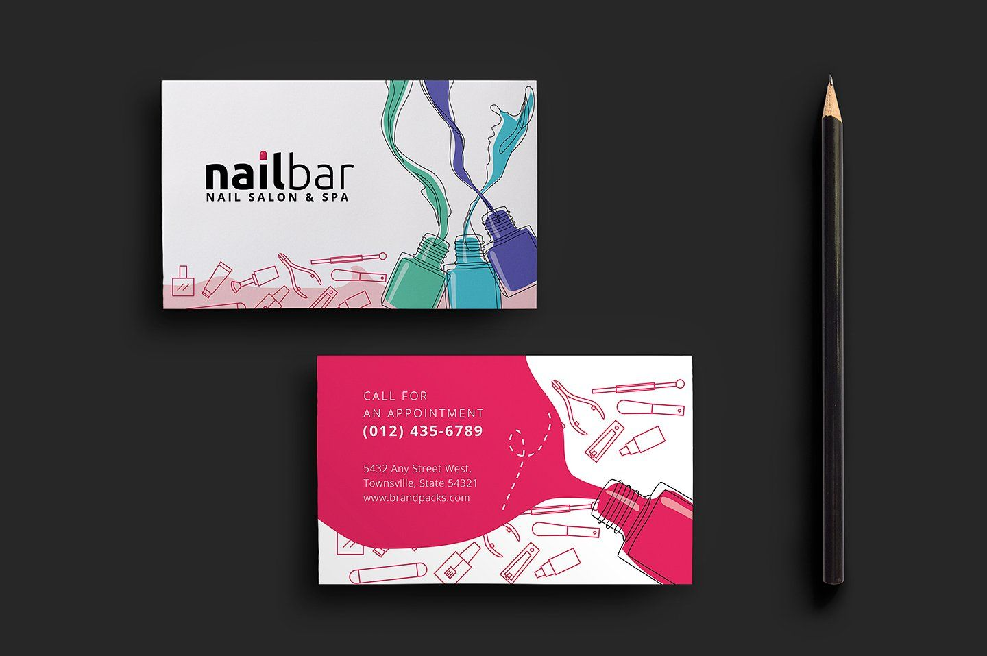 Nail Salon Business Card Template by BrandPacks on @creativemarket ...