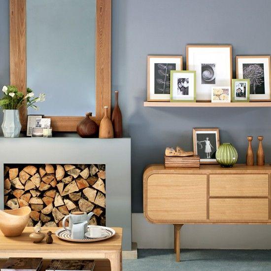 Grau als Wandfarbe im Wohnzimmer passt sehr gut zu der natürlichen - wohnzimmer braun modern