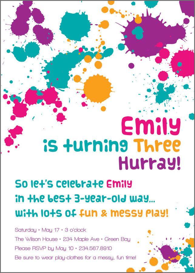 messy birthday party invitation custom printable sensory play
