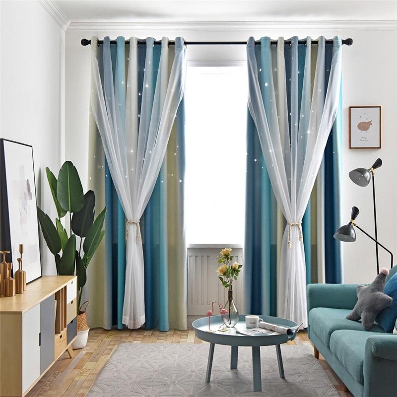 Max Blackout Curtain Hollow Star Curtain With Sheer Curtain