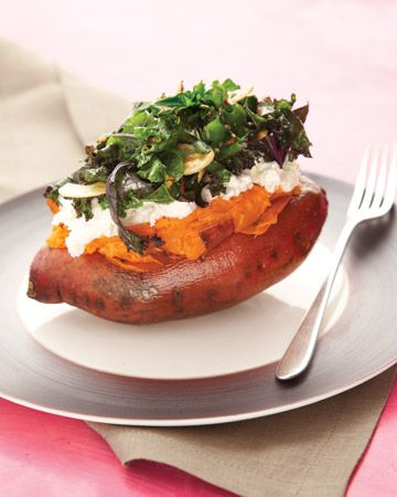 Baked sweet potato w/ goat cheese and a kale & roasted garlic salad with balsamic vinaigrette.