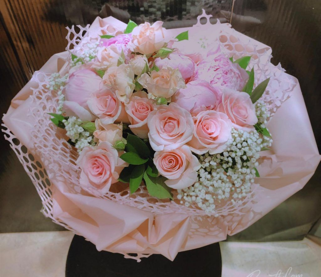 Penny 8211 Pink Peony And Roses Bouquet Rose Bouquet Pink Peonies Lily Bouquet