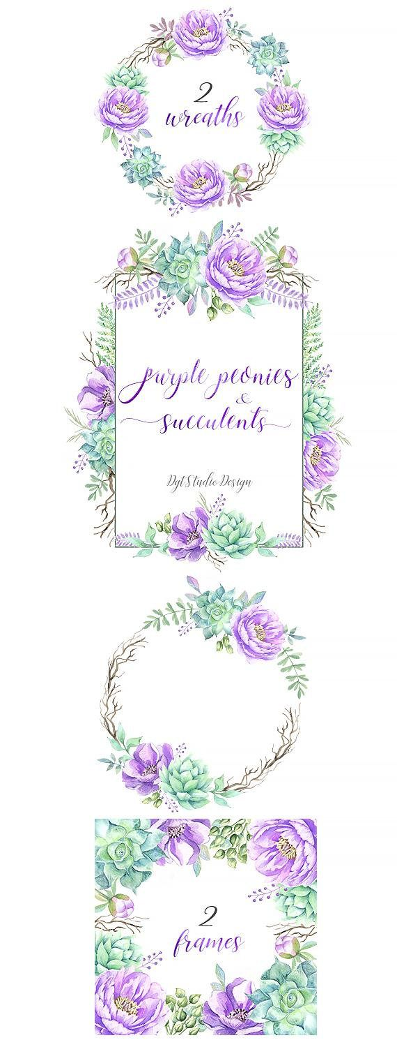 watercolor clipart wreath frame succulent leaves elements separate flower peony floral purple lilac [ 570 x 1500 Pixel ]