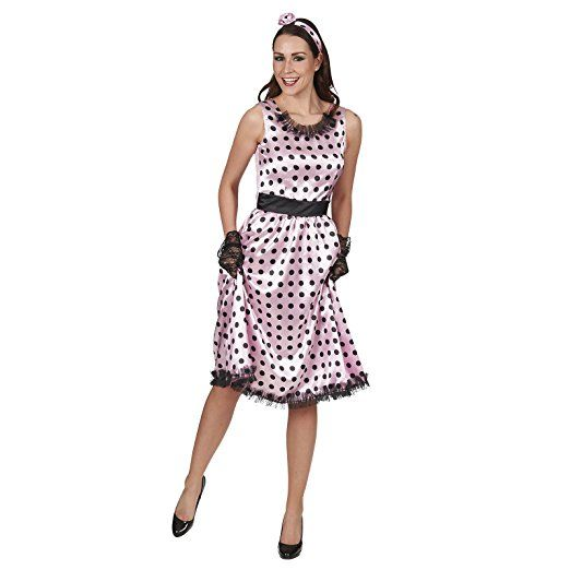Rock N Roll Damenkostum Gepunktet Pink Rockabilly Kleid Mit Haarband