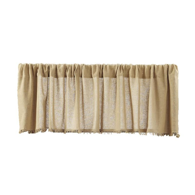 Tobacco Cloth Khaki Fringed Curtain Tiers 36  W x 24  L is part of Country Clothes Rustic - Tobacco Cloth Khaki Fringed Curtain Tiers 36  W x 24  L