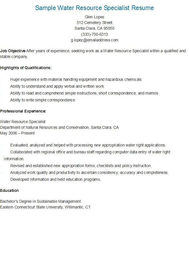 Sample Water Resource Specialist Resume resame Pinterest Water