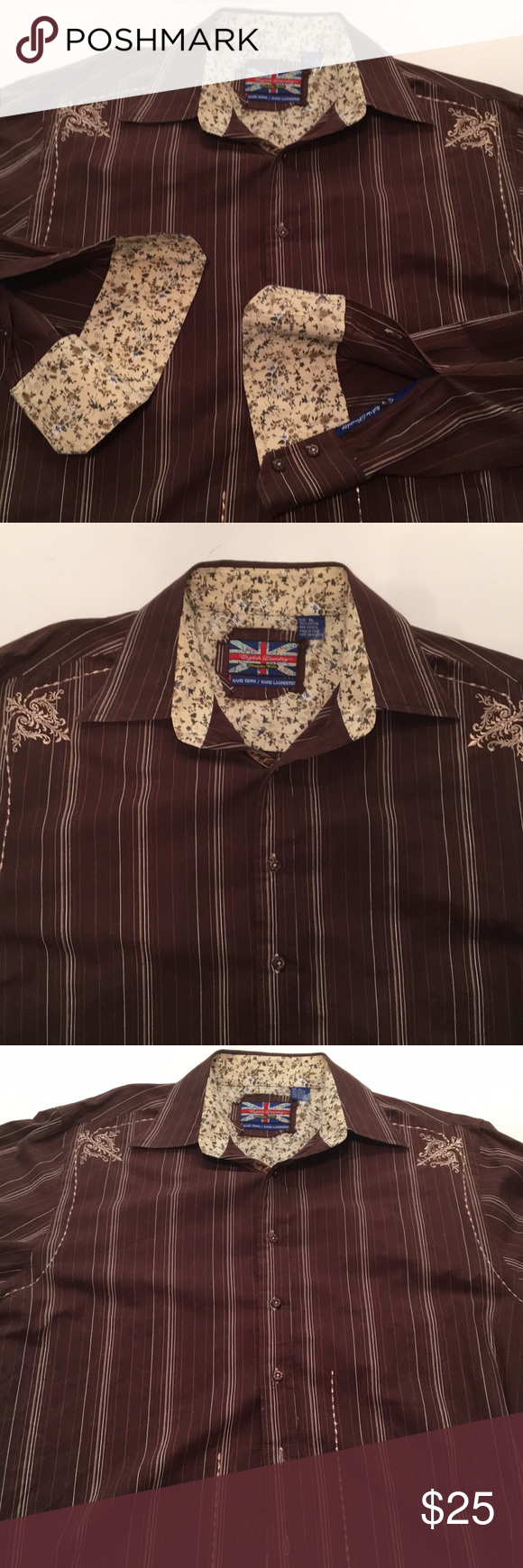 English Laundry Men S Embroidered Shirt Xl Embroidered Shirt Laundry Shirts Womens Fashion [ 1740 x 580 Pixel ]