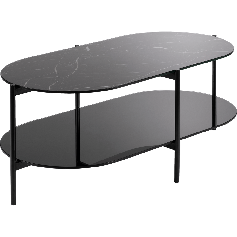 Table Basse Ovale En Verre Effet Marbre Noir Guiero Tables Basses Alinea Table Furniture Table Coffee Table