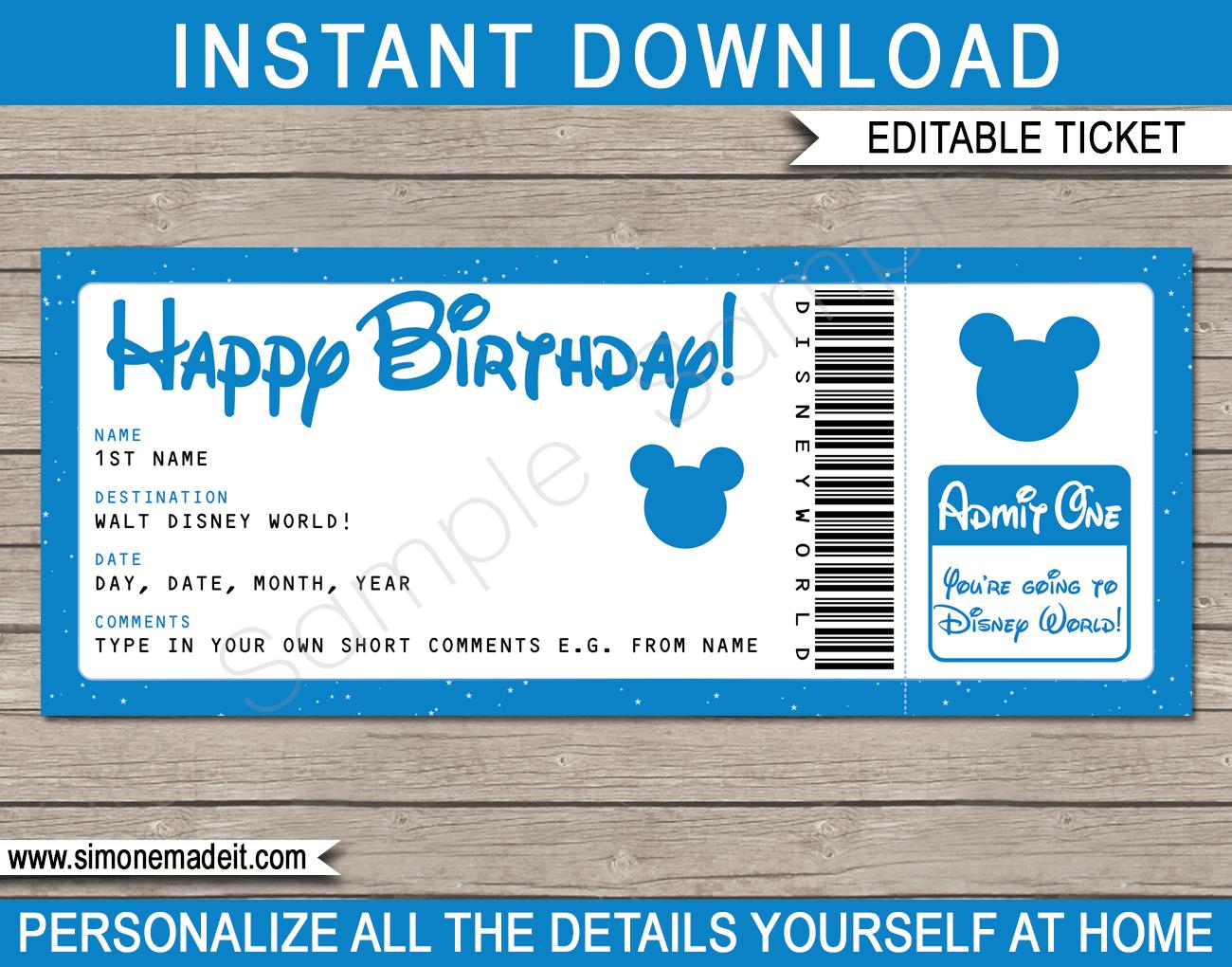 Birthday Surprise Trip To Walt Disney World Ticket Template Disney Trip Reveal Disney Uberraschung Disney Reise Disney World