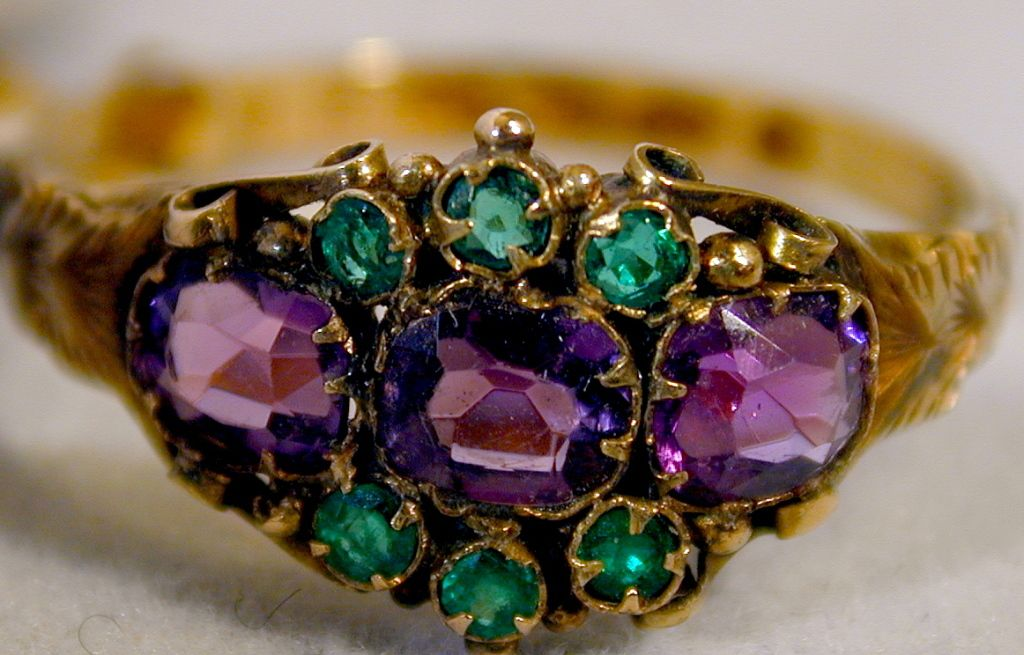 Antique Amethyst Emerald Cluster Ring  