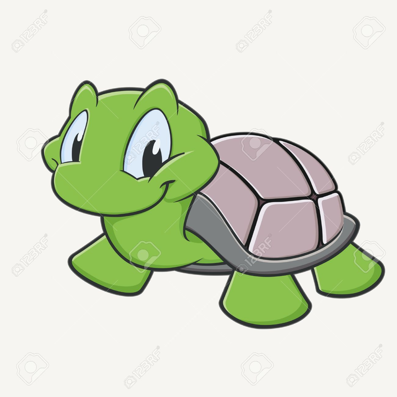 Vector Illustration Of A Cutely Smiling Cartoon Turtle