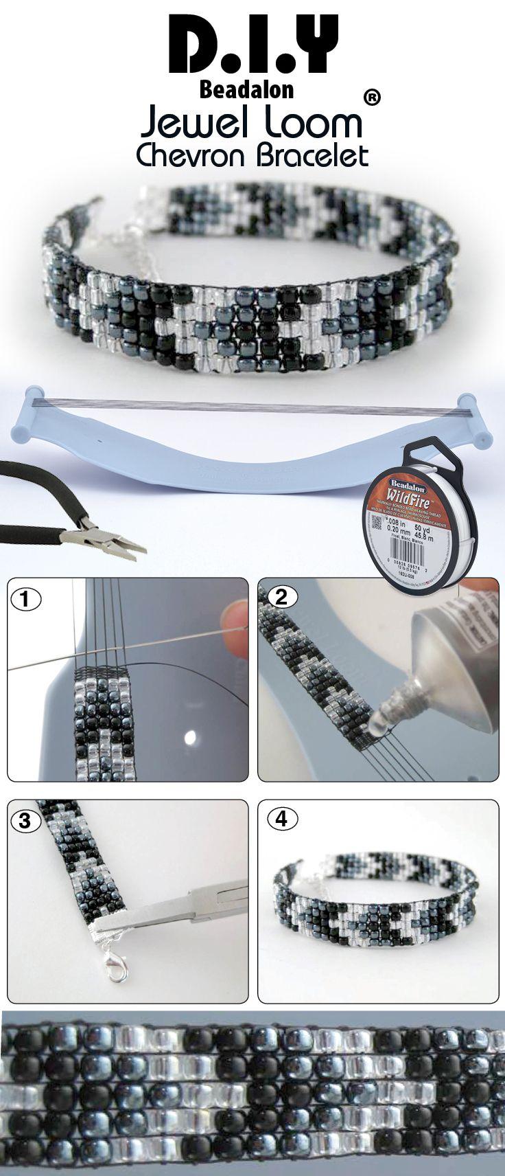 DIY Jewel Loom Beaded Chevron Bracelet. Como terminar un brazalete ...