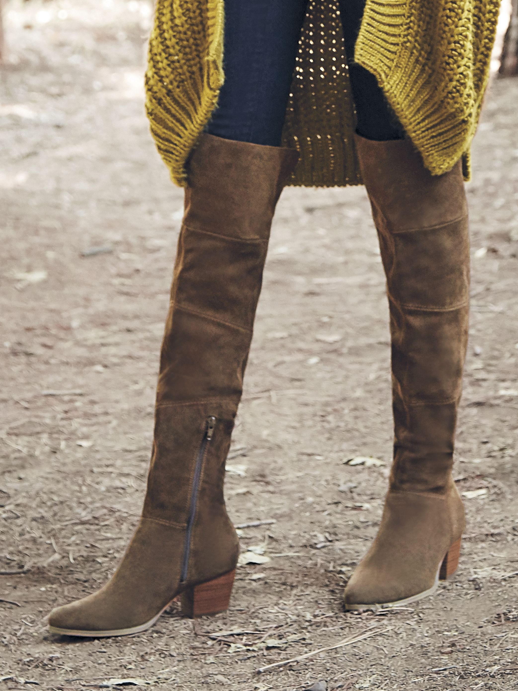 d3b08d89816 Brown suede over-the-knee boots