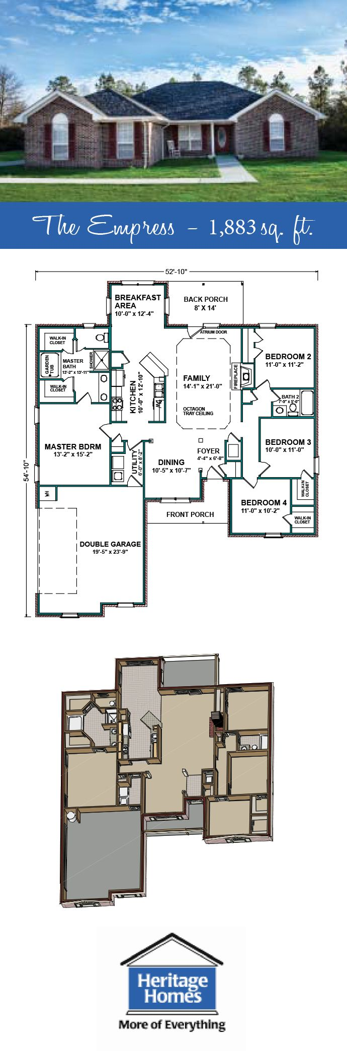 1 800 2 000 Sq Ft Floor Plan The Empress Is A 1 883 Sq Ft Home With 4 Beds 2 Baths All Of Our Plans Ca House Floor Plans Floor Plans House Design Photos