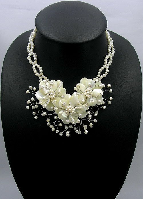 Beaded Necklace,bridesmaid gift,mothers gift,Beaded Jewelry  With MOP shell freshwater pearl. $38.00, via Etsy.
