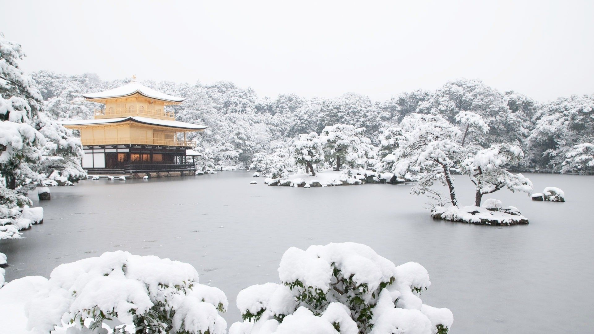 1920x1080 Japan, Temple, Lake, Snow Wallpapers HD