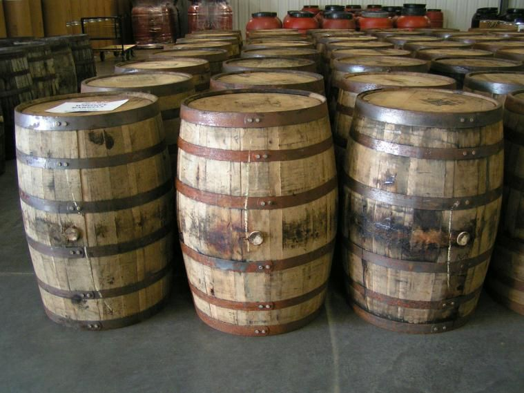 Wood barrels whiskey wine real