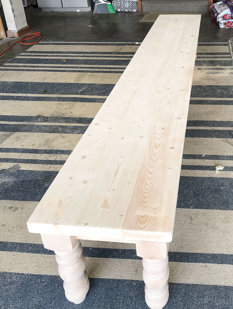 How to Build a Farmhouse Bench with Purchased Legs - Repurpose Life