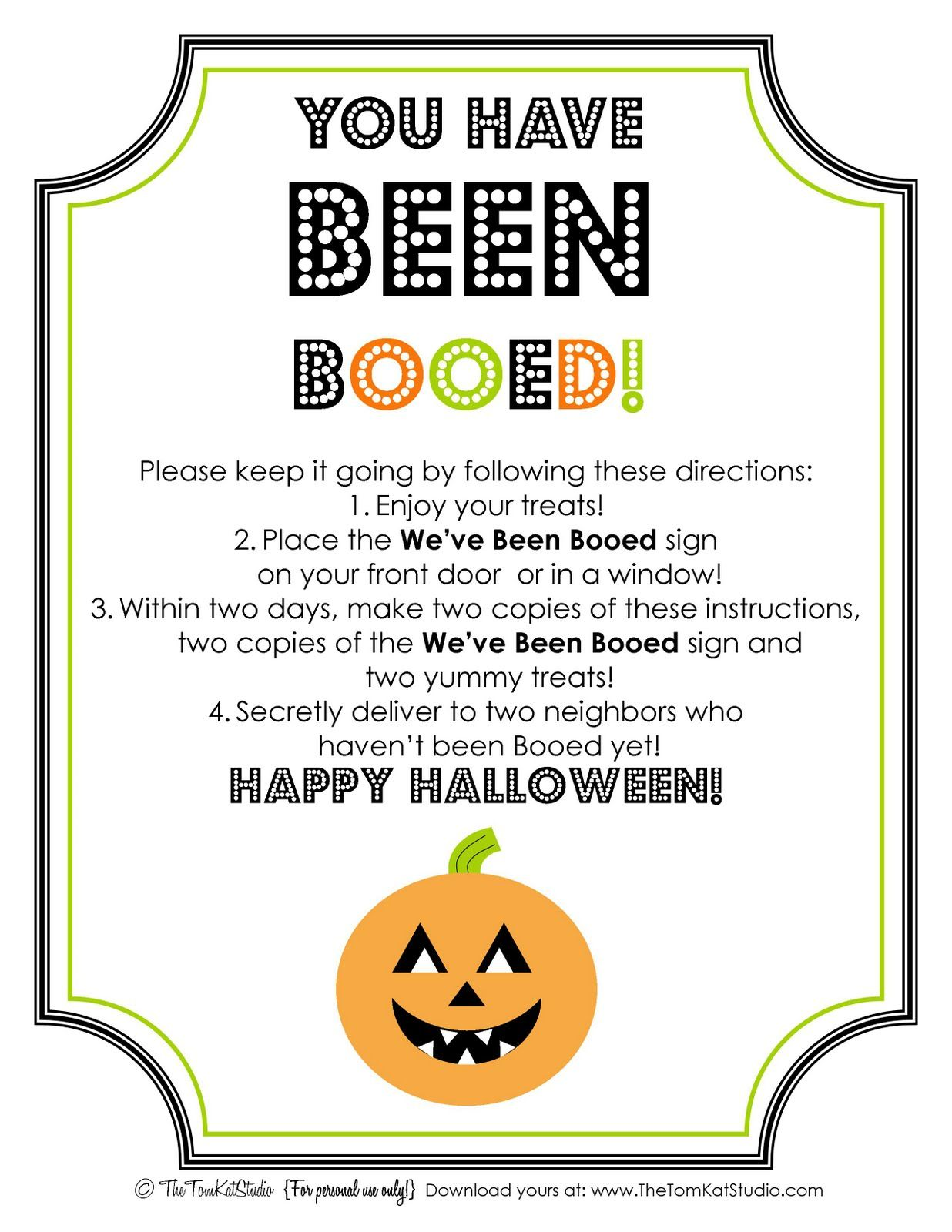 photo regarding We Ve Been Booed Printable named Halloween Free of charge Printable BOO Signal Directions Vacations