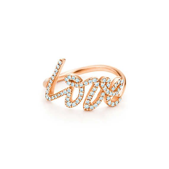 So in love with theses tiffany rings that say love!!!!!! How romantic! Even the one with out diamonds is amazing Paloma Picasso® Love ring of diamonds and 18k rose gold, small.