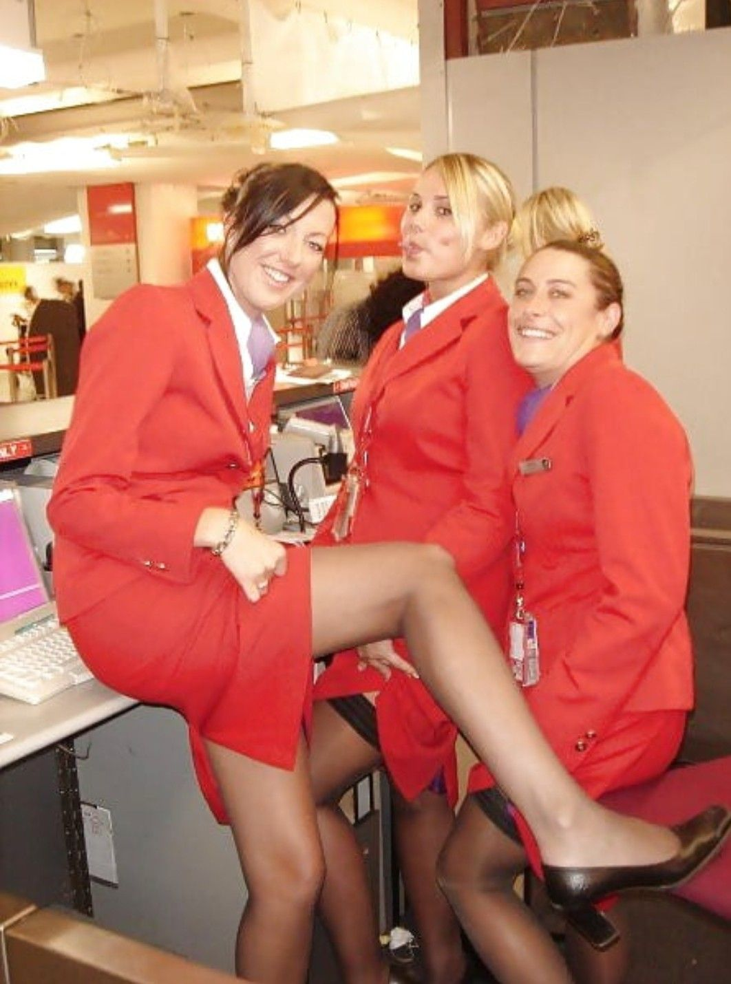 Airline Milf pintall paul on flight attendant/stewardess/cabin crew