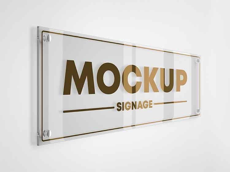 تحميل موك اب لوحة داخلية Psd مجانا Signage Novelty Sign Glass