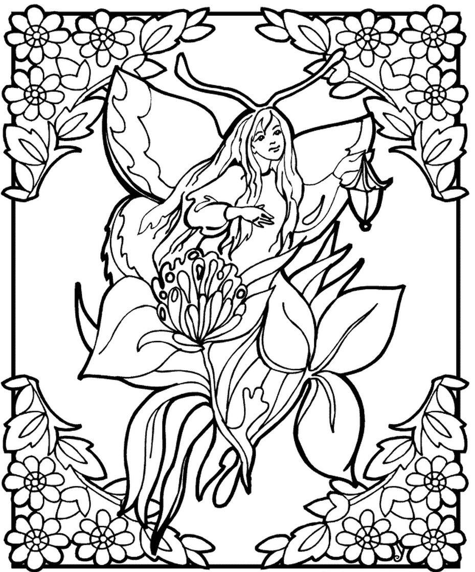 Fairy on flower | Diseños blanco y negro | Pinterest | Fairy, Flower ...