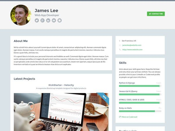 Developer Template  Free Personal Vcard  Resume Html Templates