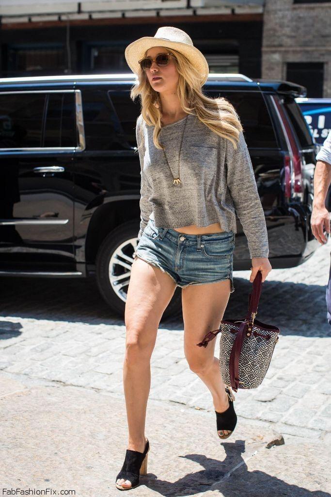 Jennifer Lawrence street style with denim shorts (June 2015).  #jenniferlawrence