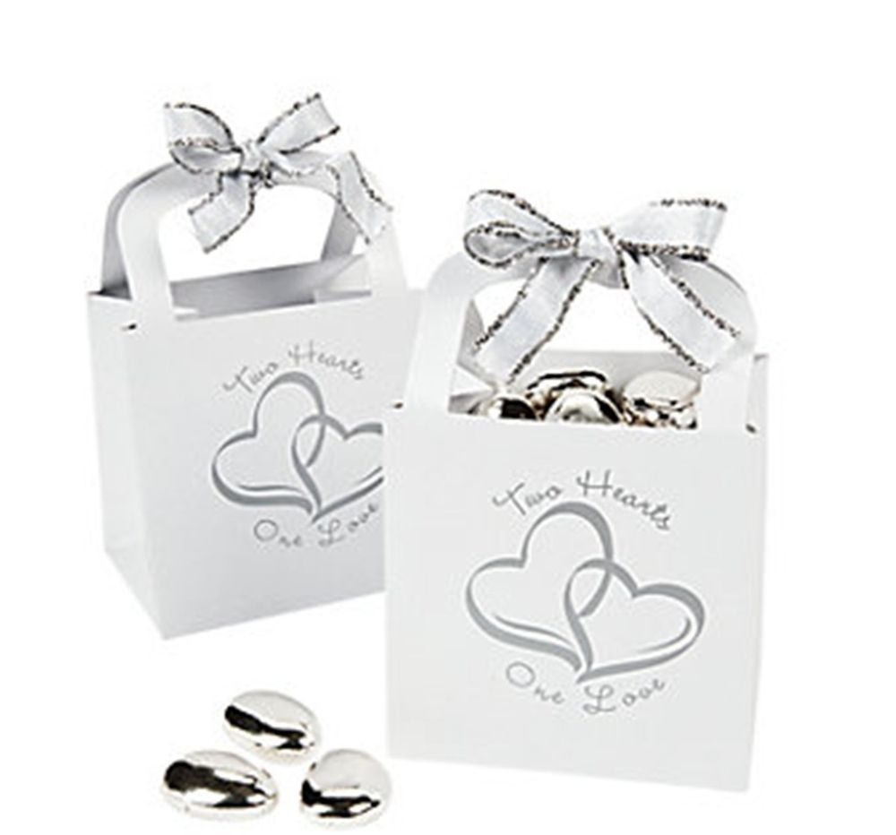 120 Silver White Two Linked Hearts Gift Boxes Candy Baskets Wedding ...