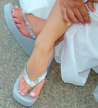 Breeze Silver High Wedge Bridal Flip Flops With Sequins Crystals